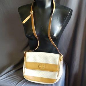 Vintage Gucci Monogram Crossbody Cream Bag Purse